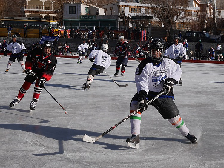 An ice hockey match in Leh