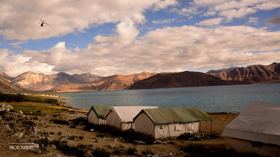 Camps at Pangong Lake